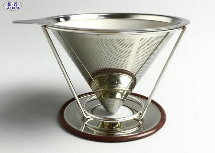 Reusable Pour Over Coffee Filter Stainless Steel Stable V Style Dripper